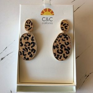 NIB C&C California Leopard Print Earrings